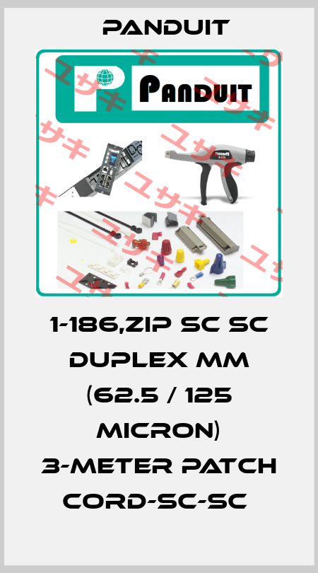 Panduit-1-186,ZIP SC SC DUPLEX MM (62.5 / 125 MICRON) 3-METER PATCH CORD-SC-SC  price
