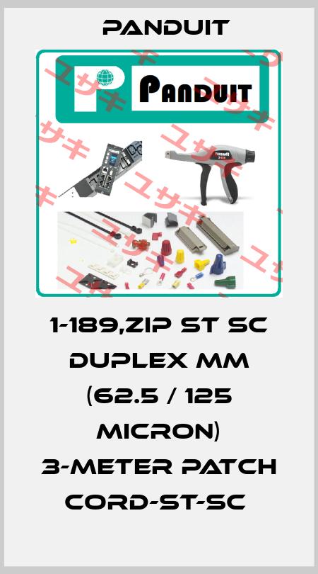 Panduit-1-189,ZIP ST SC DUPLEX MM (62.5 / 125 MICRON) 3-METER PATCH CORD-ST-SC  price